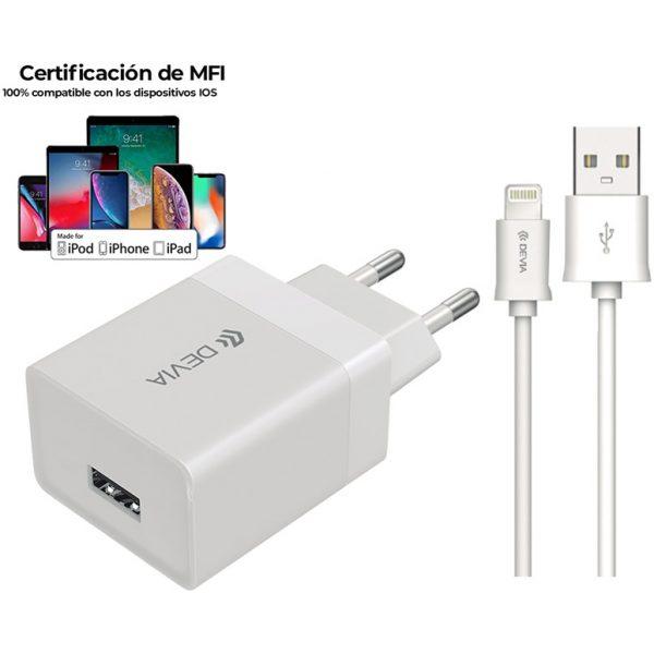 Cargador Smart Series con Cable Lightning MFI (EU, 5V 2.1A, 1 USB)